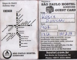 Scan of São Paulo Hostel Downtown Guest Card with room number 407, check in date 17/02 and check out 19/02. The other side of the card has a Subway Map showing 2 lines.