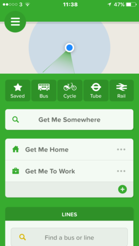 A screenshot of CityMapper
