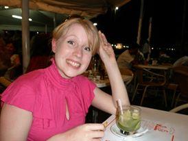 Rosie Fluskey drinks a caiprinha cocktail