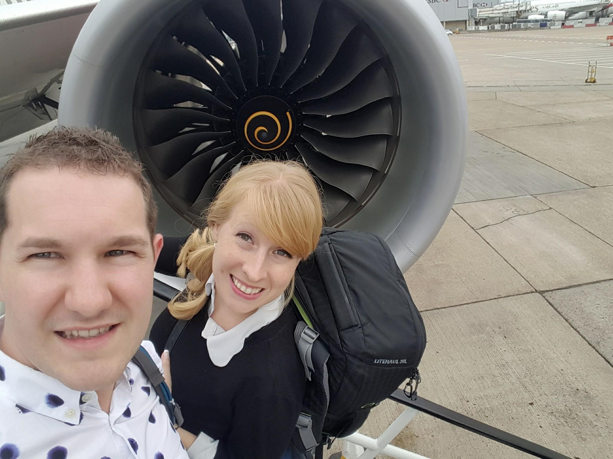 Karl and Rosie wait to board their Virgin Atlantic flight to Miami
